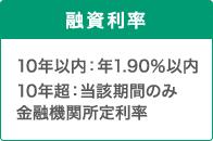 融資利率 10年以内:年1.90%以内 10年超:当該期間のみ 金融機関所定利率
