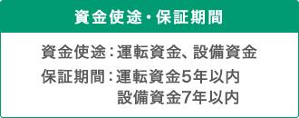 資金使途・保証期間 資金使途:運転資金、設備資金 保証期間:運転資金5年以内 設備資金7年以内